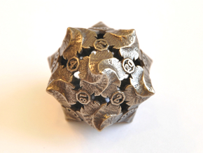 D20 Balanced - Fire (Small Numbers) in Polished Bronze Steel