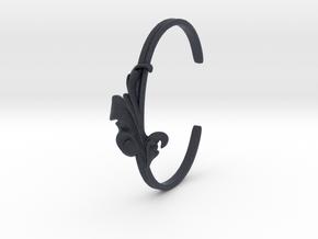 Acanthus Leaf Bangle Cuff in Black Professional Plastic: Small