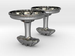 Cufflinks R8 wheel design with brake caliper in Fine Detail Polished Silver