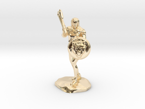 Wandacea, the Barbarian with Sword and Shield in 14K Yellow Gold