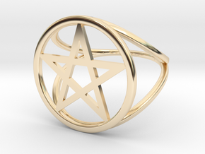 Pentacle ring in 14K Yellow Gold: 2 / 41.5