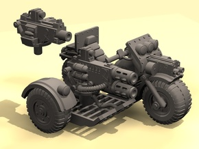 28mm Astro bike + sidecar + guns in White Processed Versatile Plastic