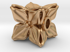 Floral Bead/Charm - Cube in Natural Bronze