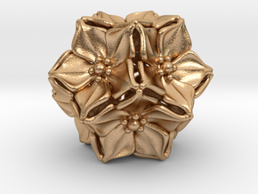 Floral Bead/Charm - Dodecahedron in Natural Bronze