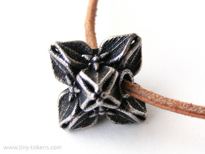 Floral Bead/Charm - Octahedron in Polished Bronzed-Silver Steel