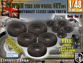 1/48 LRDG Chevrolet Tire Set001 in Smooth Fine Detail Plastic