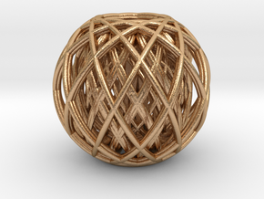 Rotating toruses between two wire frame spheres in Natural Bronze