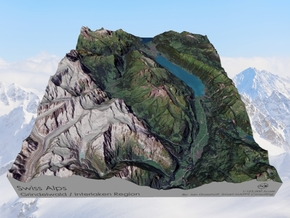 Swiss Alps, Interlaken / Gindelwald Map in Natural Full Color Sandstone