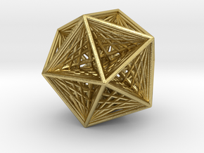 Icosahedron collapsing axis in Natural Brass
