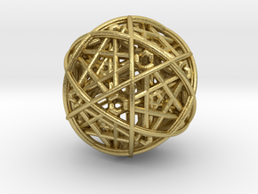 Hedron star inside sphere yellow black in Natural Brass