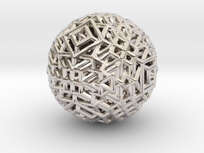 Cube to octahedron transition Version 1 in Rhodium Plated Brass