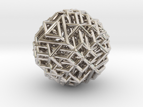 Tetrahedron family arranged together in Rhodium Plated Brass