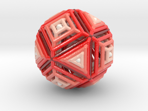 Cube to octahedron transition Version 2 in Glossy Full Color Sandstone