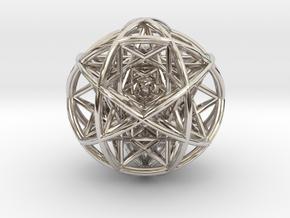 Scaled arrayed star hedron inside sphere in Platinum