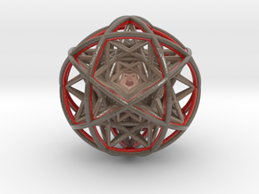 Scaled arrayed star hedron inside sphere in Glossy Full Color Sandstone