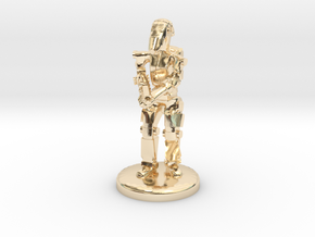 Battle Droid 20mm scale (25mm tall) in 14k Gold Plated Brass