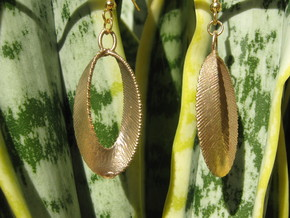 Sinusoidal 3 Earrings in Natural Brass