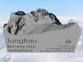 Jungfrau Map, Swiss Alps in Matte Full Color Sandstone