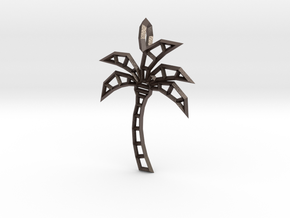 Wireframe palm tree pendant in Polished Bronzed-Silver Steel