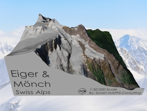 Eiger & Mönch Map, Swiss Alps in Matte Full Color Sandstone