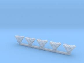 Triangle Alien Head x5 in Smooth Fine Detail Plastic