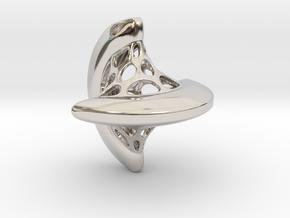 Sphericon pendant in Rhodium Plated Brass