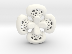 Sphericon Flower pendant in White Processed Versatile Plastic