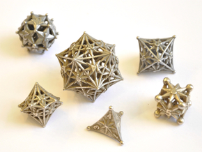 Radiant Dice Set - Balanced in Polished Bronzed Silver Steel