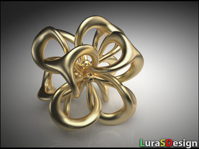 Flower in 4 Dimensions in Polished Bronzed-Silver Steel