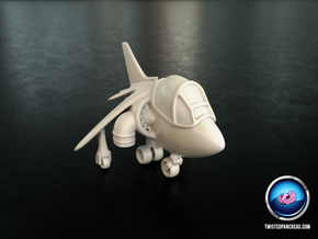 Cartoon Harrier Jump Jet in White Processed Versatile Plastic