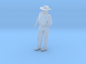 Man Standing Arm Bent: Wearing a Large Hat in Smooth Fine Detail Plastic: 1:48 - O