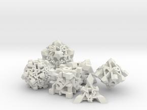Intangle Dice Set in White Natural Versatile Plastic