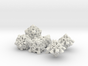 Intangle Dice Set with Decader in White Natural Versatile Plastic