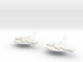 Whale earrings in White Natural Versatile Plastic