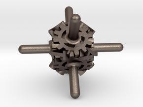 Clockwork Gears Dice in Polished Bronzed-Silver Steel: d8