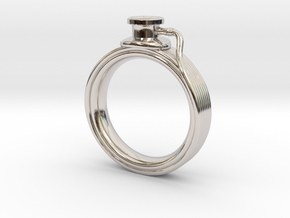 Stethoscope Ring in Rhodium Plated Brass: 4 / 46.5