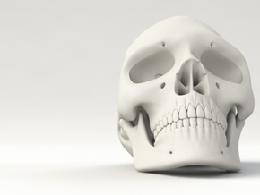 Realistic Human Skull (40mm H) in White Processed Versatile Plastic