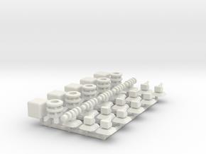 Modules 1: Turrets, Engine, Cube in White Natural Versatile Plastic
