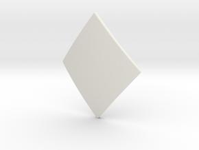 Diamond Lozenge (Plain) in White Natural Versatile Plastic: Small