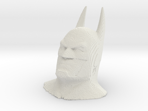 Batman voxelized in White Natural Versatile Plastic