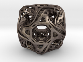 Ported looped drilled  cube pendant in Polished Bronzed-Silver Steel