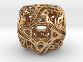 Ported looped drilled  cube pendant in Natural Bronze