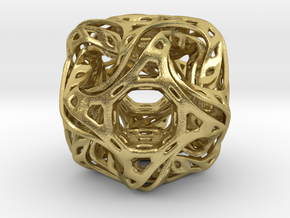 Ported looped drilled  cube pendant in Natural Brass