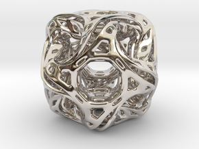 Ported looped drilled  cube pendant in Rhodium Plated Brass