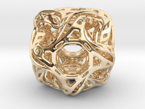Ported looped drilled  cube pendant in 14K Yellow Gold