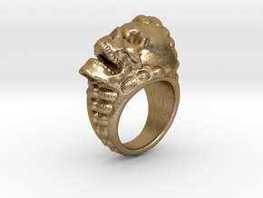 skull ring size 6 1/4 -US in Polished Gold Steel