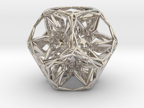 Organic Dodecahedron star nest in Rhodium Plated Brass