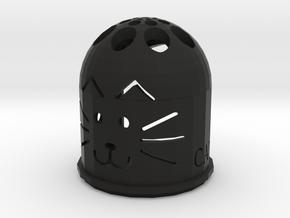 Cat candle holder in Black Natural Versatile Plastic