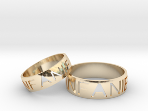 cravedtextring-pair in 14k Gold Plated Brass