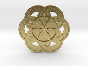 Crop circle Pendant 3 Flower of life colored in Natural Brass